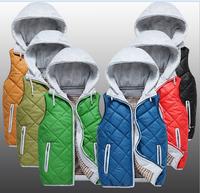 2014 Autumn Winter Men Hooded Vest Removeable Cap Lovers Cotton Vest Six Colors Casual Men Vest Coat Plus Size M to XXXL