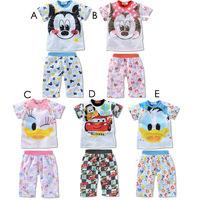 Retail New Summer 2014 Children Girls Boys Cotton Minnie Pajamas Set Clothing Set Kids Sleepwear Clothes Sets Baby Clothing Sets