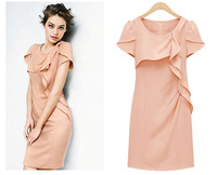 Women Summer New 2014 Fashion Cocktail Dress Short Sleeve Party Dress Lady O-neck Evening Dress Women Elegant Pencil Dress women