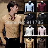 2014 new Autumn Men's solid colors temperament Dress long Sleeve Shirts Men dress shirts Business gentleman M-XXL,6412