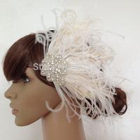 Bleached Peacock Feather Fascinator Bridal Wedding Hair Pieces Rhinestone Applique