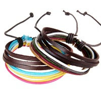 2 pcs Hot Gift  Fashion Punk Stylish Cool Braid Leather Bangle Cuff Bracelet  Wristband  Size Adjustable For Men
