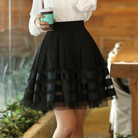 Korean Women Short Black Skirts Striped Tulle Skirt Organza Tutu Skirts Female Sheer Pleated Skirt Plus Size S ~ XXL