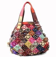 Wholesale 2014 Sheepskin genuine leather handbag,Color stitching Flowers diamond fashion female shoulder inclined shoulder bag