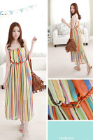summer dress 2014 Bohemia striped long dress with shoulder-straps women casual dress
