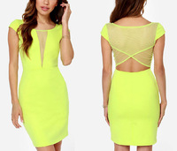 Fashion Women Sexy Pencil Dress European Style Solid Color Mini Celebrity Party Clubwear Mesh Cross Fashion Hot Dress