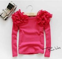 Free Shipping Autumn And Winter Kids Girls Blouses 2014 100% Cotton Children Girls Lace Shirt Long-sleeve Bottoming Shirt Tops