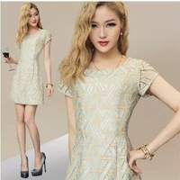 Summer Women Mini Elegant Hollow Out Desigual  Dress 2014 New Ladies  A-line Casual Lace Party Dresses Plus Size XXL