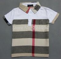 Freeshipping2014fashion boys t shirt  100% cotton kid's t-shirt fashion kid's plaid t-shirt  1-7 years old 4 colors