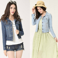 Spring European single explosion models super good quality basic models lapel fashion jeans denim jacket female behalf