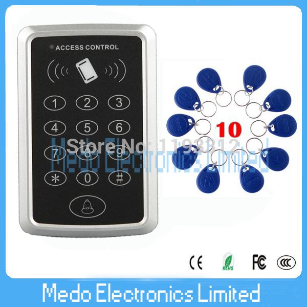 Free shipping+10 RFID tag RFID Proximity Card Access Control System RFID/EM Keypad Card Access Control Door Opener(China (Mainland))