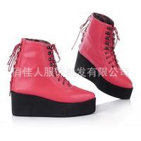 Winter 2014 Plus Size thick soles foam cotton lace heeled boots warm women  size 34 ~ 43