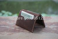 Groomsmen/ Bridesmaids Gift Leather Bifold Wallet Slim Rustic Design Distressed Leather Men's Womens Wallets Mini Wallet--R023-3