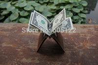 Money Clip Wallet Crazy Horse Leather Wallets Minimailist Wallet Credit Card Holder Groomsmen Gifts Women's Wallets -R022-2