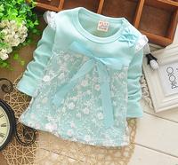 Hot sale!New 2014 Girls dress,Long sleeve child autumn dress lace skirt,Children's clothes,100%cotton,Flower girl dress,free