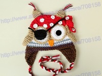 free shipping, 60pcs baby hat Beanie, children's handmade crochet Cartoon Pirate owl hat with eye patch, newborn hat Photo props