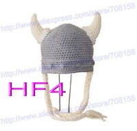 free shipping,100pcs baby hat Beanie, children's handmade crochet vikings ox horn hat, newborn hat Photo props 100% cotton
