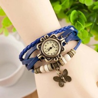 Genuine Leather Vintage band women Quartz Dress Watch chain Wristwatches w33138