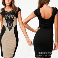 2014 Rushed New Freeshipping O-neck Jersey Regular Hollow Out Print Short Vestido De Festa Women Dress Backless Dresses Sv000143