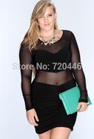 2014 Summer New Arrvial Lady's Sexy Plus Size Baby Dolls Club Dresses Fat Women's Big Fashion Apparel Girls' Office Dress