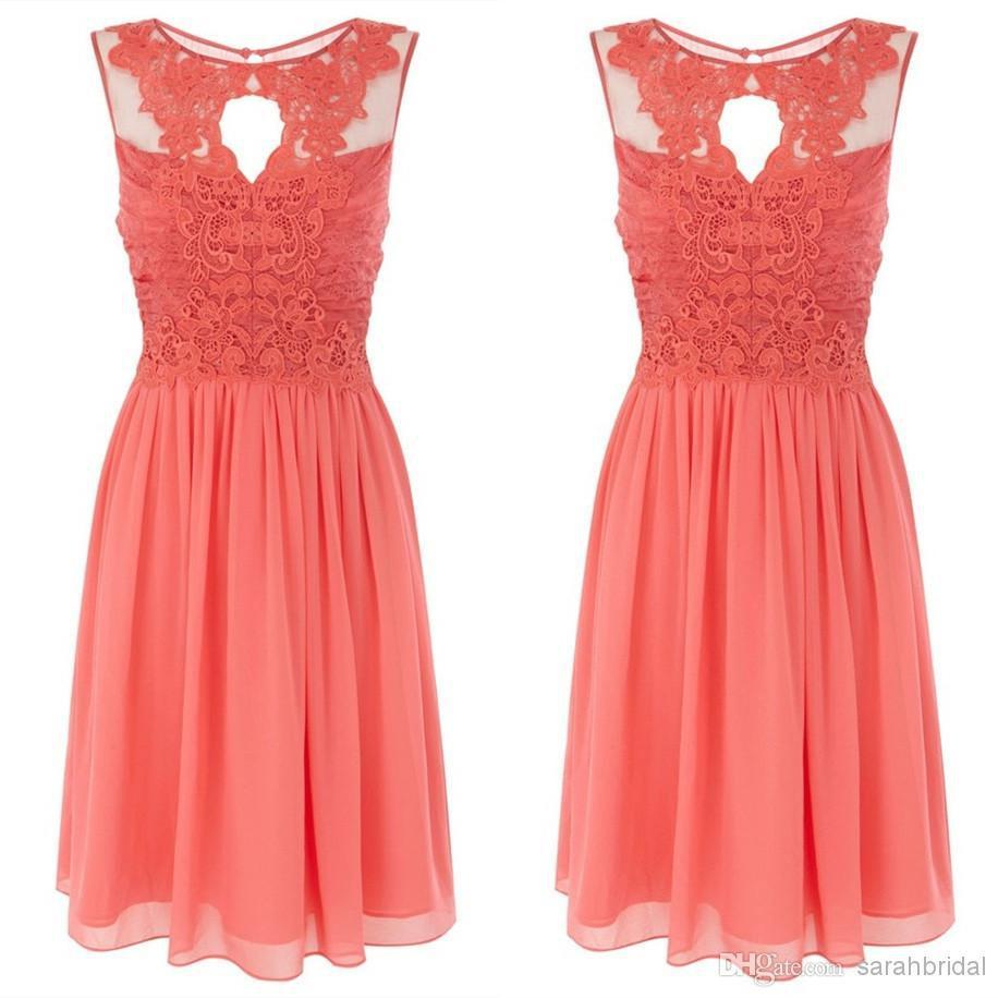 Coral Lace Bridesmaid Dresses Plus Size - Missy Dress