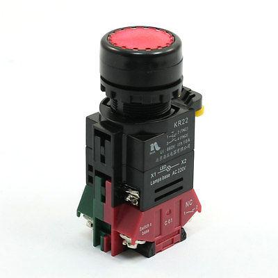 Мгновенный DPST NC 4 контакт. терминал красная переключатель переменного тока 220 В 10a 660 в 4 терминал фиксации 2 позиция nc dpst поворотный переключатель ваттной 2 ключ