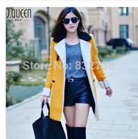 Winter  New style women  Collar Patchwork Fleece Fashion Long woolen & Blends keep warm outerwear coats and jackets 4 Colour