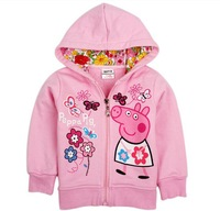 Kids Jackets Coats Spring New in 2014 Girls Jacket Peppa Pig Children Outerwear Cotton Pink Coats for Child Hoodie Jacket Girls