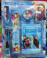 NEW 20 sets  (6 in 1) Frozen Purple princess pattern stationery set /Pencil/Eraser/sharpener/ ruler/ wallet  / kid gift