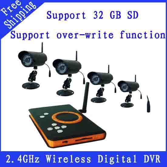 2.4GHz Wireless CCTV DVR KIT ZJ128DR4 IR Night Vision Camera + Wireless Receiver DVR Support SD Card Storage FREE SHIPPING(China (Mainland))