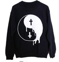 Black Hoody 2014 New Cross Printed Hoodies Fashion Taiji Great Ultimate Sweatshirt Casual Pullovers WE057
