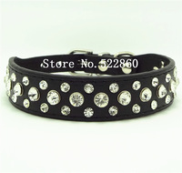 Puppy Cat Pet Crystal Collar Candy Color Dogs Buckle Neck Strap Leather Collars kitten  rhinestones  necklace