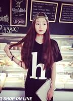 New 2014 Women Summer Dress Korean Fashion Women Short Sleeve Letter Print  O- Neck Loose Long  Dress suit  Free Shipping
