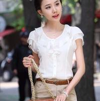 (WMF007) 2014 Women's Butterfly Sleeve Shirt Short-sleeve Top Chiffon Shirt Ruffle Shirt XS,S, M, L, XL, XXL, 3XL,4XL,5XL