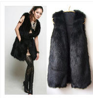 2014 New winter large size Imitated fur vest Long section fur coat women's Imitated fur   colete pele free shipping