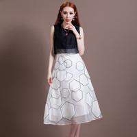 Fashion autumn women's 2014 black and white color block watercubic organza silk one-piece dress full dress