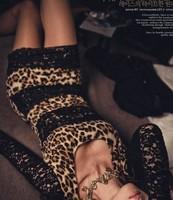 New 2014 Women Summer Dress Korean Women Full Sleeve Leopard Lace Nightclub Clothing O- Neck Sexy Slim  Dress Free Shipping