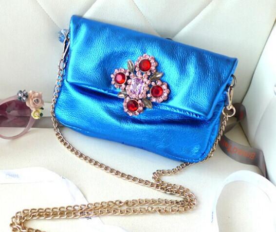 2014 new fashion women small bags shell handbag Korea Fashion Head layer cowhide Metallic color Shining Fashionista Mini Bag(China (Mainland))