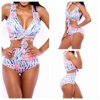 Girl Print Swimwear High Waist Women Fashion Bikinis Woman New Summer 2014 Sexy Swimsuit Bath Suit Push Up Bikini set Bathsuit