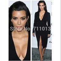 Deep V Neck Black Elegant Midi Dress Long Sleeve Slim Bodycon Dress Women Dress Fashion 2014
