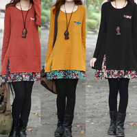 New 2014 Autumn Casual Women Floral Patchwork Loose Dresses Long Sleeve Pockets Mini Dress Vestidos, 5 Colors, M, L, XL, XXL