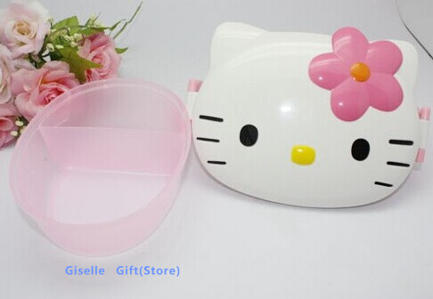 Layers Kawaii Hello Kitty FACE Kids Lunch BOX Food Container BOX Holder Fresh Keeper Storage Case Refrigerator Crisper Box Case(China (Mainland))