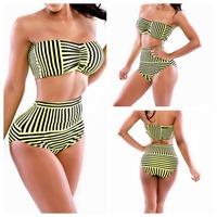 2014 New Sexy Women Swimwear Vintage Push Up Bandeau HIGH WAISTED Striped Strapless Girl Bikinis Set Ladies bathing suits M L XL