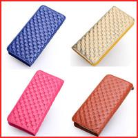 2014 new fashion Plaid 100% Cow Genuine Leather Wallets High Fashion Designer Brands Carteira Couro Feminina 5 Colors W01