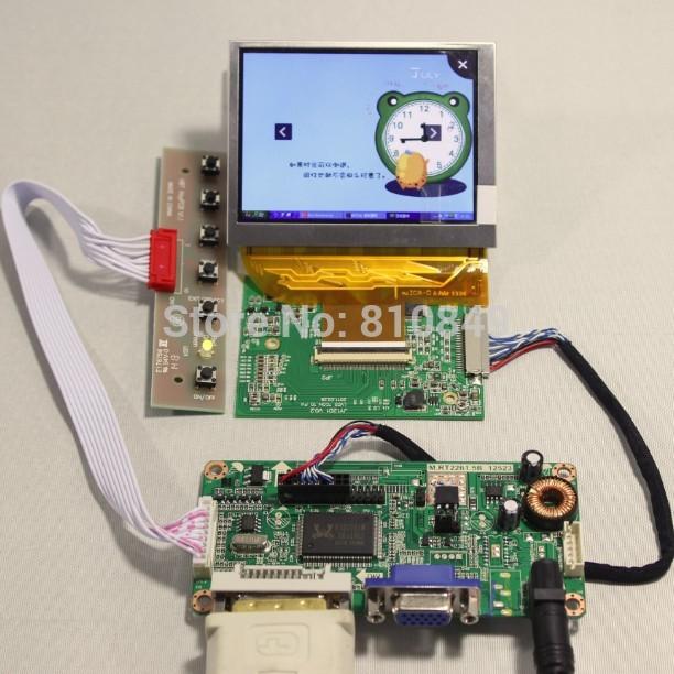 DVI+VGA controller board+LVDS Tcon board+3.5inch PD035VX2 640*480 LCD panel(China (Mainland))