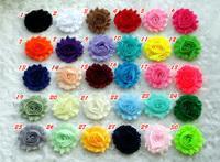 "100pcs/lot 2.5"" baby girl chic shabby frayed chiffon flower,chiffon Rosette Trim flower for DIY creft hair flower,patches flower"