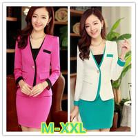 M-2XL size skirt suits women 2014 new plus size women business suits ladies office uniform work wear suits free shipping