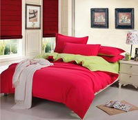 4pcs Home textiles bedclothesTemptation Full Cotton Solid Contrast Colours bedding sets include duvet cover bed sheet pillowcase