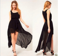 2014 New Fashion Women Chiffon Dress Long Black Dress Seeveless Vest Irregular Dress After Long Short Before Dress Plus Size