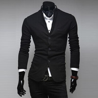 2014 Hot Sale Men's New Slim Fit Fashion Blazer Male Mandarin Collar Single Breasted Suit Autumn Wear Free Shipping MWX101